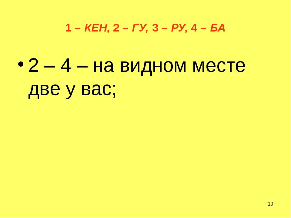 1 – КЕН, 2 – ГУ, 3 – РУ, 4 – БА 2 – 4 – на видном месте две у вас;