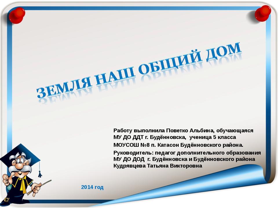 Работу выполнила Поветко Альбина, обучающаяся МУ ДО ДДТ г. Будённовска, учени...