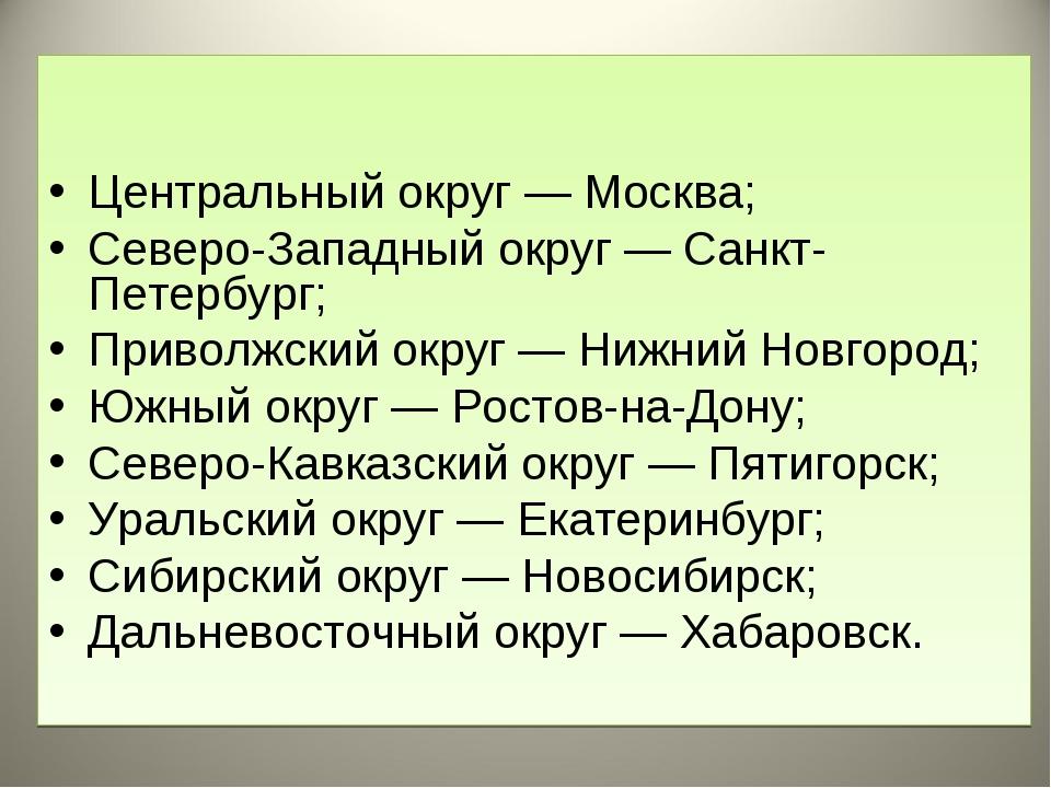 Центральный округ — Москва; Северо-Западный округ — Санкт-Петербург; Приволж...