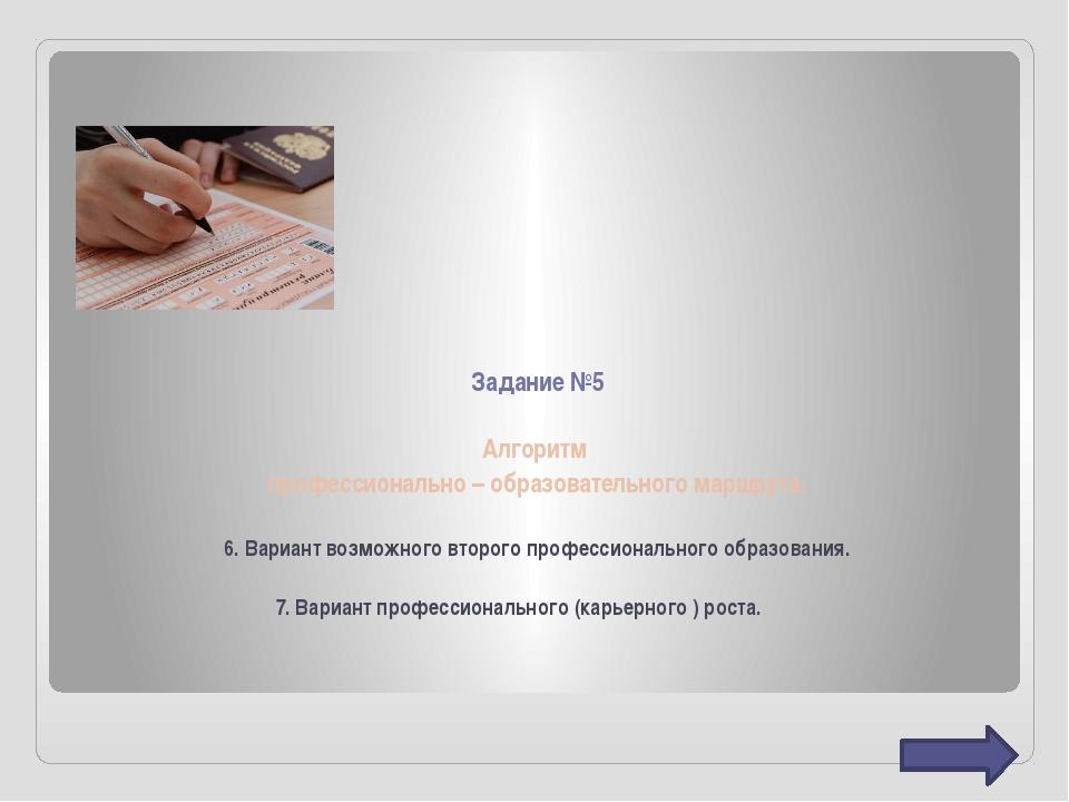 Задание №5 Алгоритм профессионально – образовательного маршрута. 6. Вариант в...