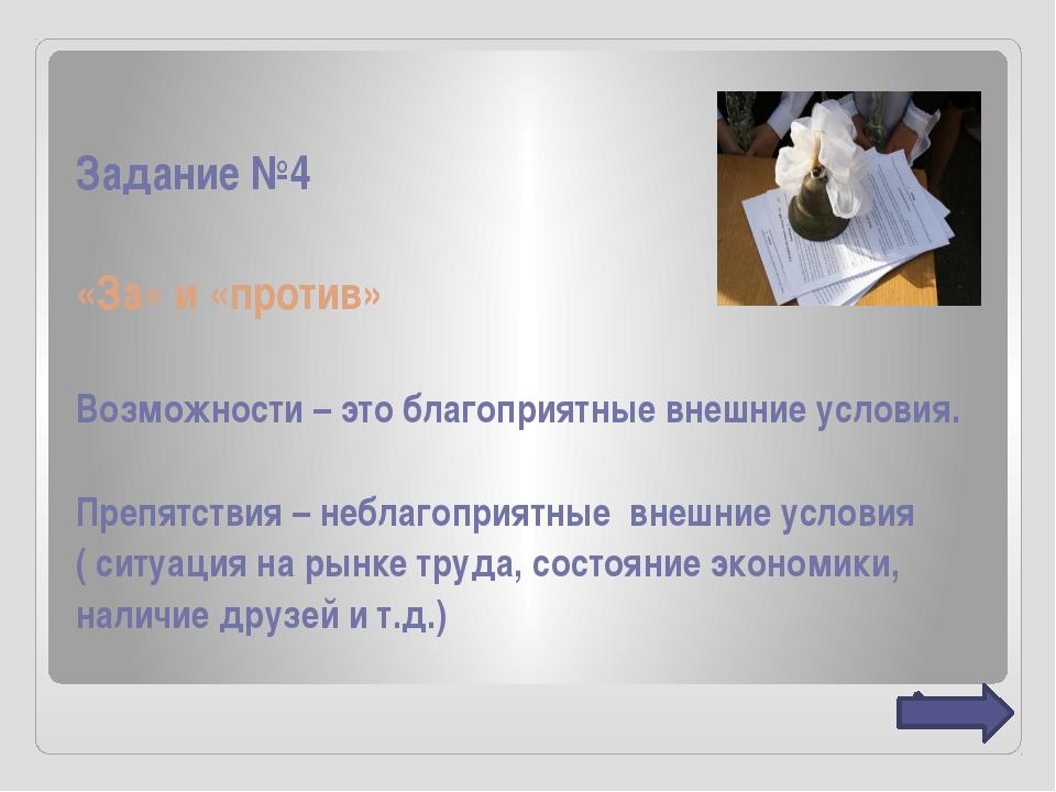Задание №4 «За» и «против» Возможности – это благоприятные внешние условия. П...