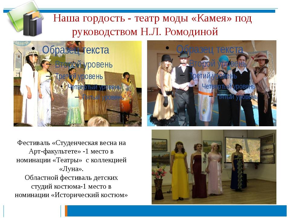 Наша гордость - театр моды «Камея» под руководством Н.Л. Ромодиной Фестиваль...