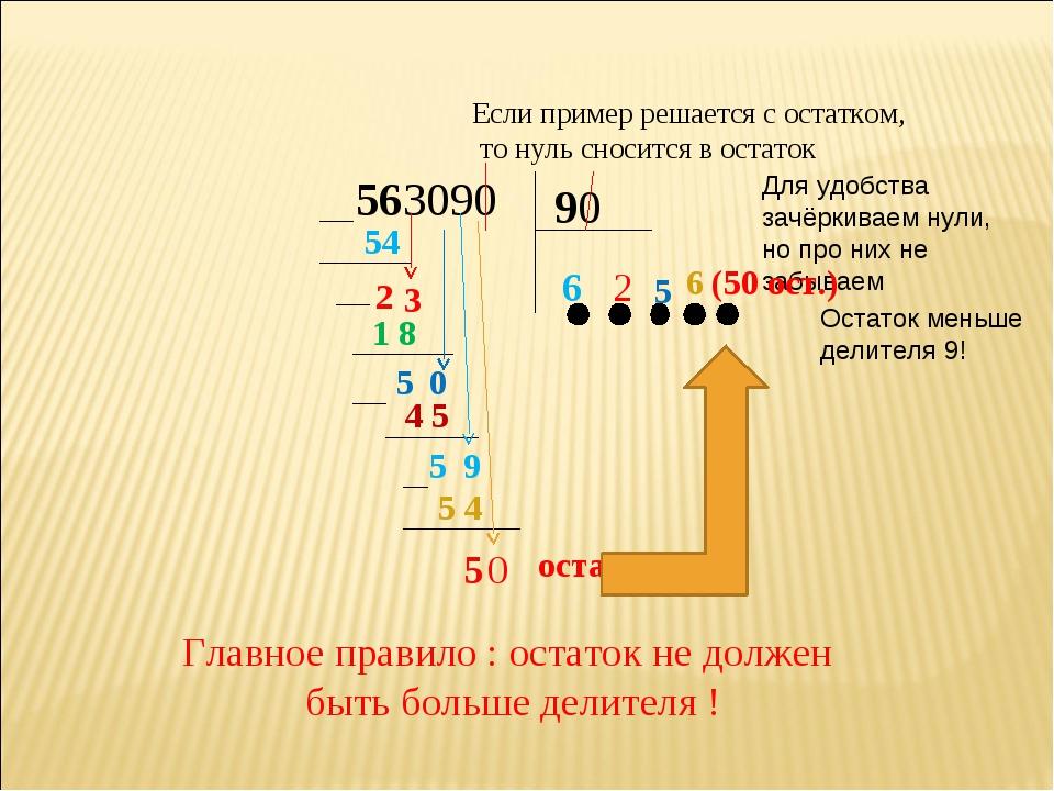 563090 90 6 54 2 3 2 1 8 5 0 5 Остаток меньше делителя 9! 4 5 Для удобства за...