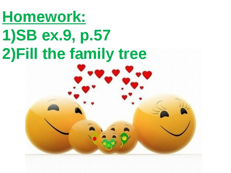 Homework: 1)SB ex.9, p.57 2)Fill the family tree