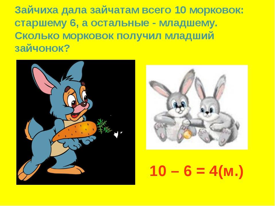 Зайчиха дала зайчатам всего 10 морковок: старшему 6, а остальные - младшему....