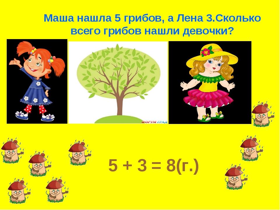 Маша нашла 5 грибов, а Лена 3.Сколько всего грибов нашли девочки? 5 + 3 = 8(г.)