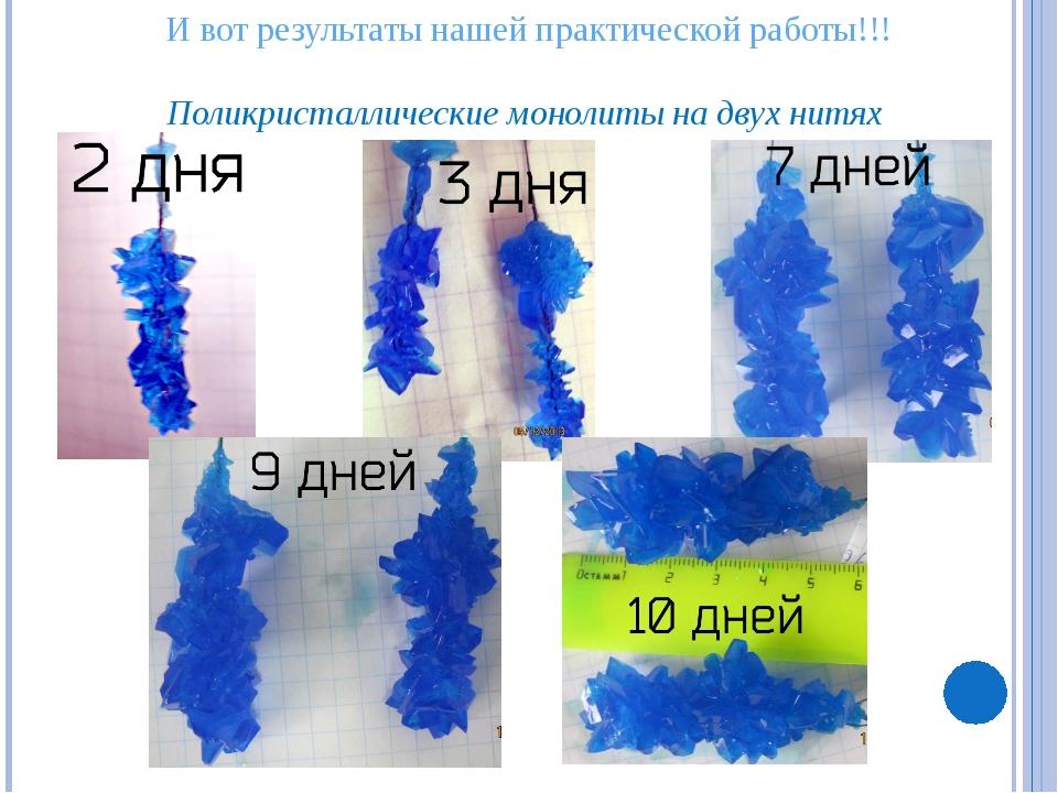 И вот результаты нашей практической работы!!! Поликристаллические монолиты н...