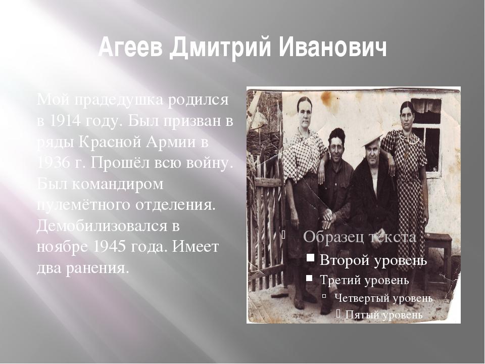 Агеев Дмитрий Иванович Мой прадедушка родился в 1914 году. Был призван в ряды...
