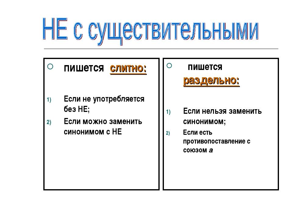 пишется слитно: Если не употребляется без НЕ; Если можно заменить синонимом с...