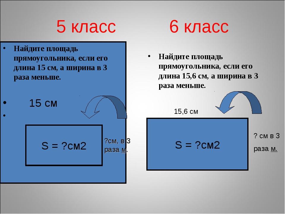 5 класс 6 класс Найдите площадь прямоугольника, если его длина 15,6 см, а шир...
