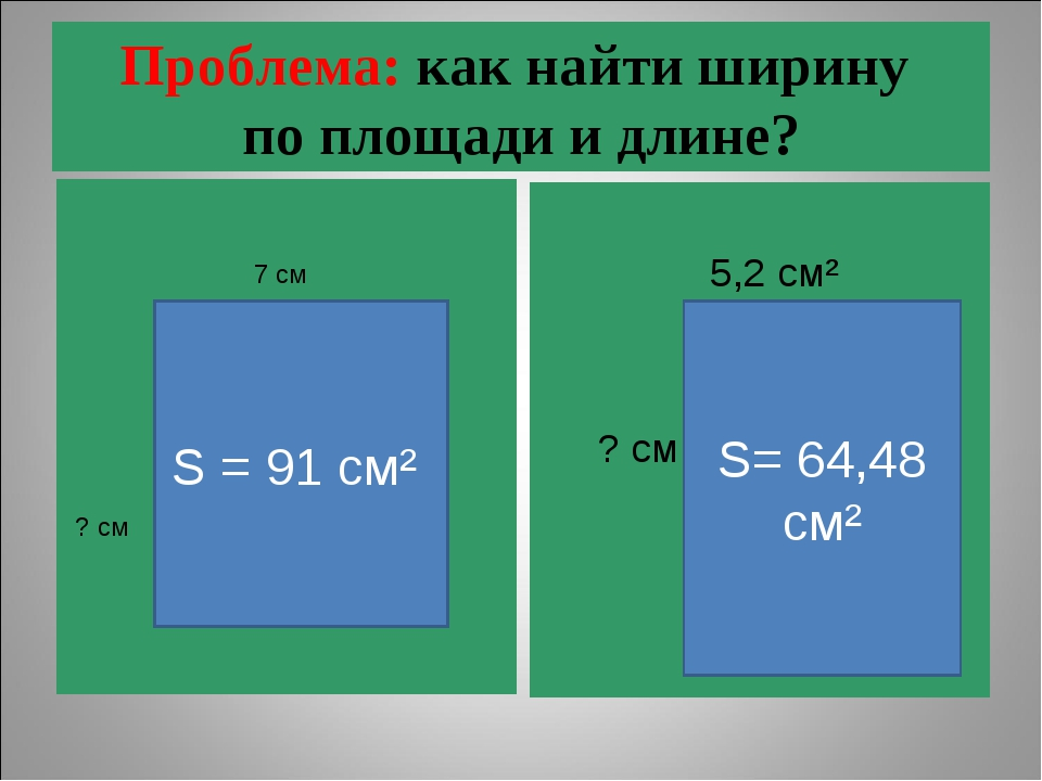 Проблема: как найти ширину по площади и длине? 5,2 см² ? см S = 91 cм² S= 64,...