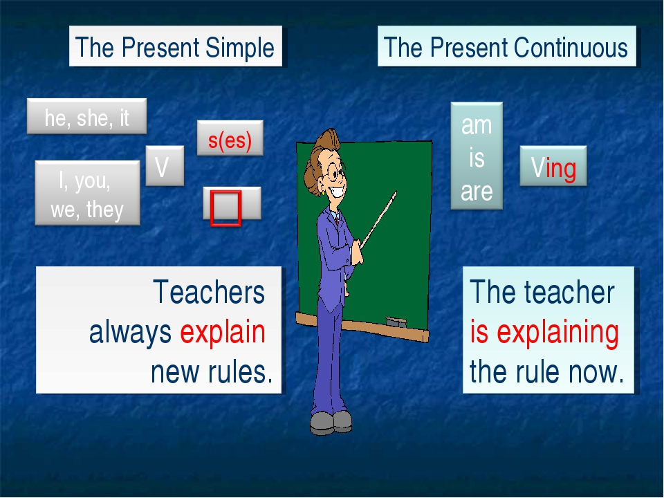 The Present Simple The Present Continuous Teachers always explain new rules....