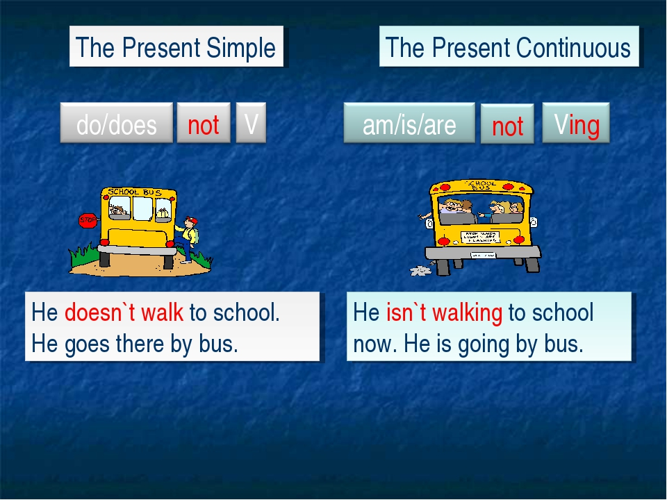 The Present Simple The Present Continuous He doesn`t walk to school. He goes...