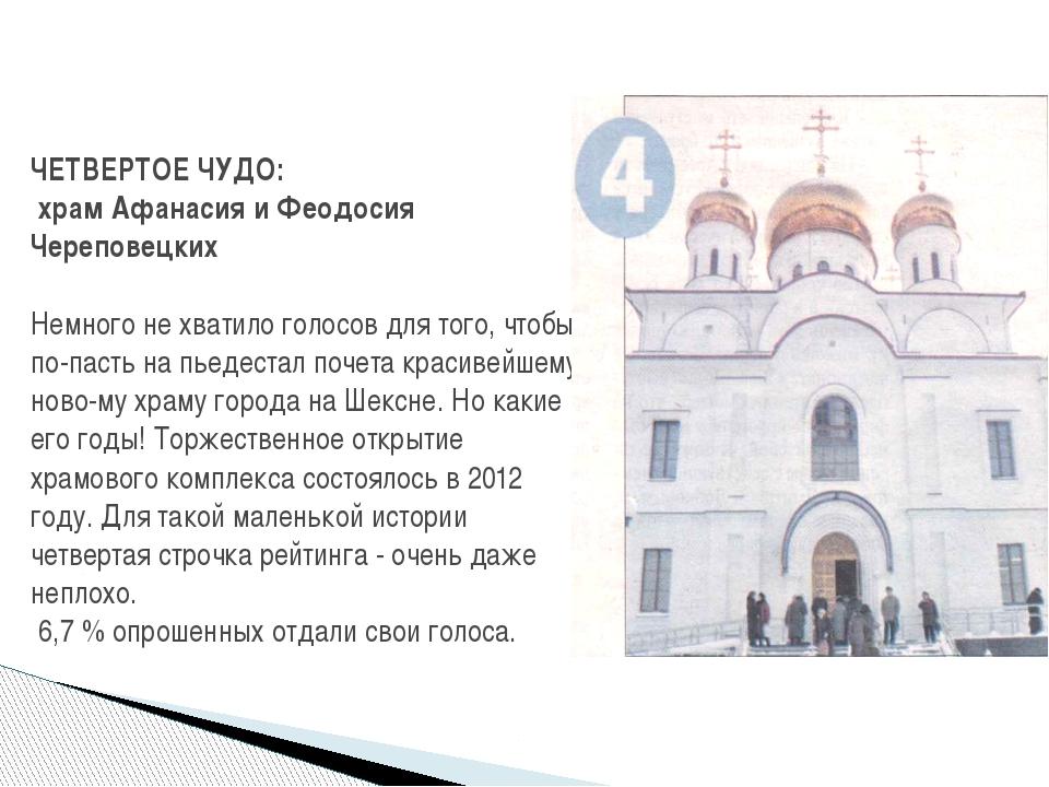 ЧЕТВЕРТОЕ ЧУДО: храм Афанасия и Феодосия Череповецких Немного не хватило голо...