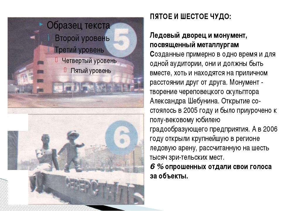 ПЯТОЕ И ШЕСТОЕ ЧУДО:  Ледовый дворец и монумент, посвященный металлургам Соз...
