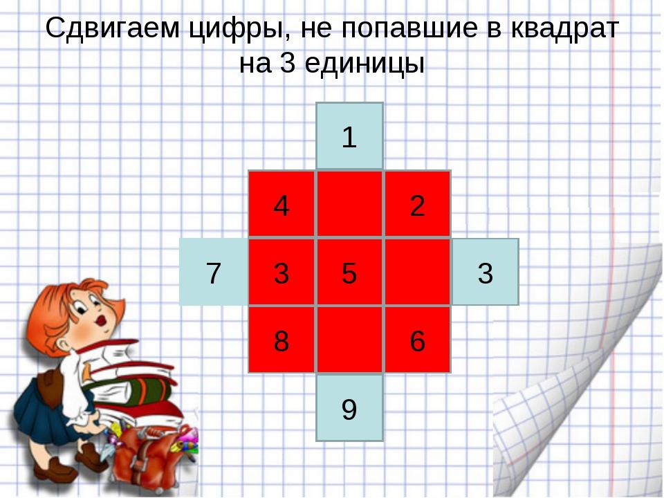 Сдвигаем цифры, не попавшие в квадрат на 3 единицы 5 6 3 2 4 8 3 1 7 9