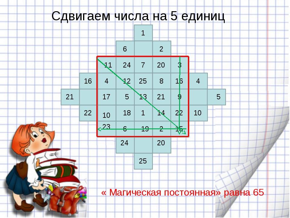 Сдвигаем числа на 5 единиц 1 2 3 4 5 6 7 8 9 10 11 12 13 14 15 16 17 18 19 2...