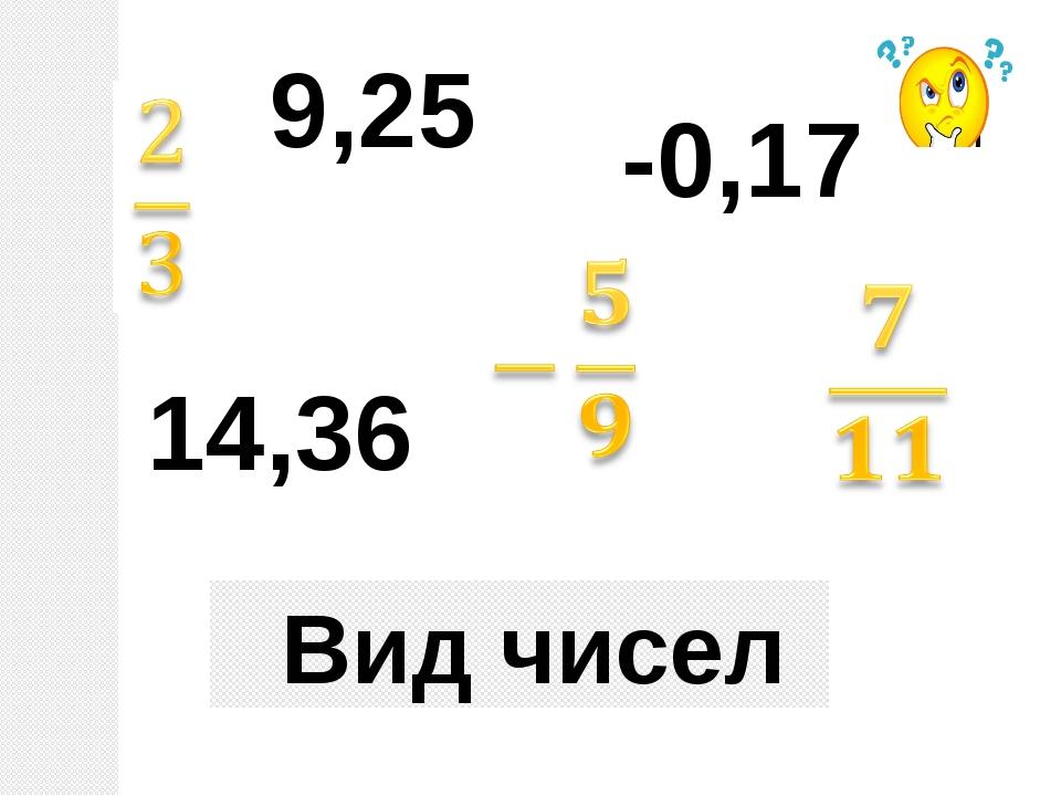 Вид чисел 9,25 14,36 -0,17