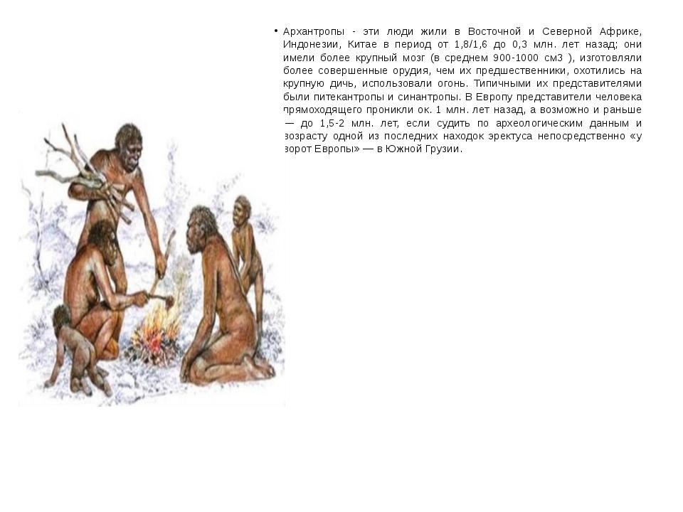 Архантропы - эти люди жили в Восточной и Северной Африке, Индонезии, Китае в...
