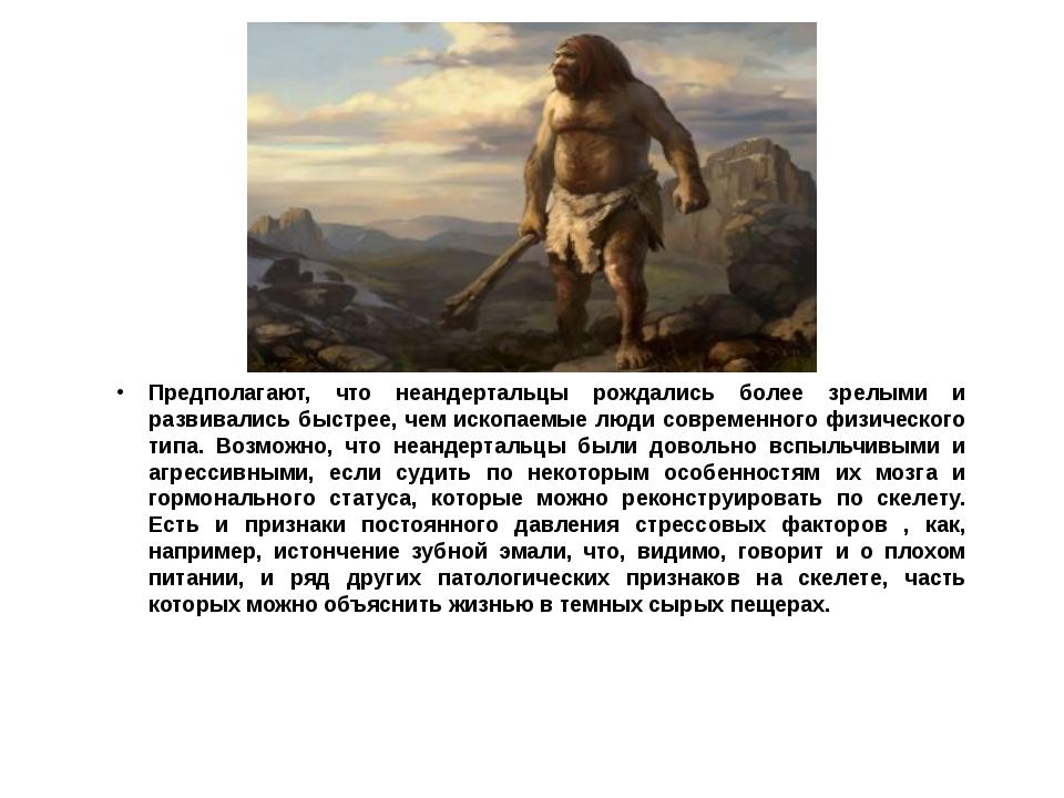 Предполагают, что неандертальцы рождались более зрелыми и развивались быстрее...