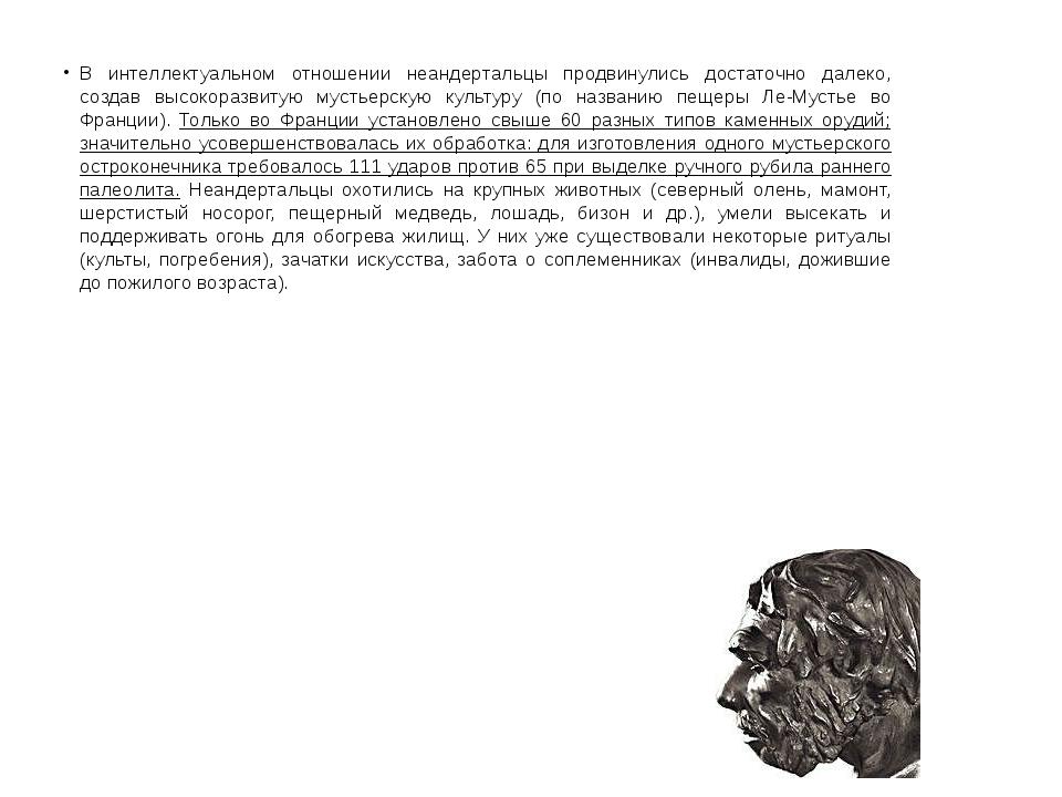 В интеллектуальном отношении неандертальцы продвинулись достаточно далеко, со...