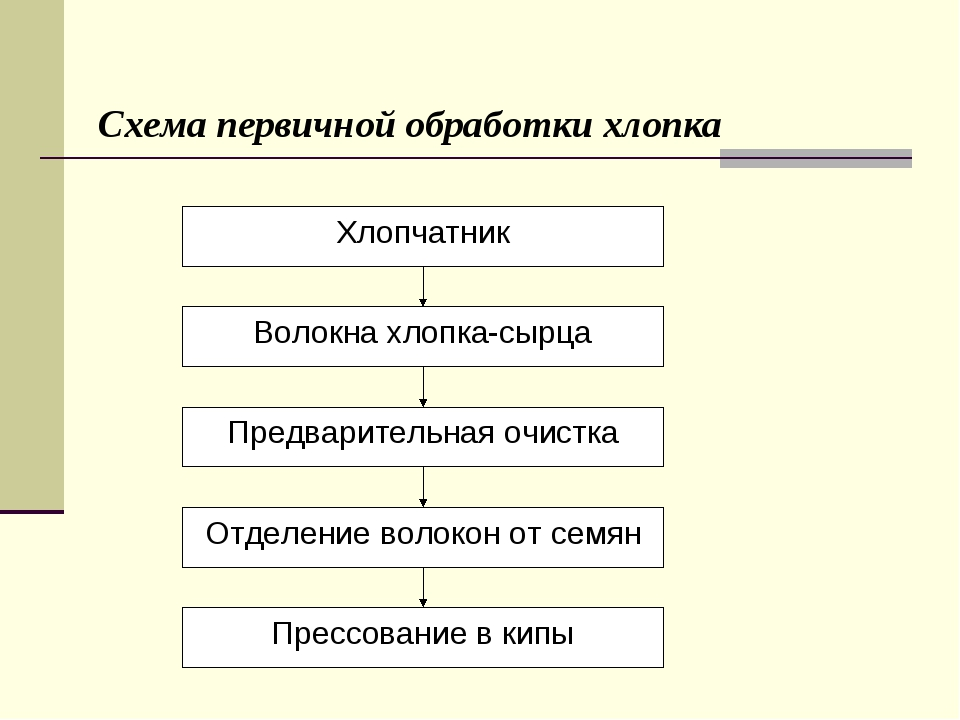 Схема первичной обработки хлопка