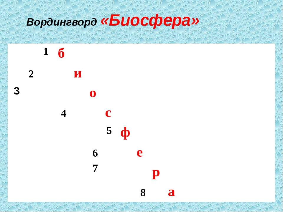 Вордингворд «Биосфера» 1 б 2 и 3 о 4 с 5 ф 6 7 е р 8 а