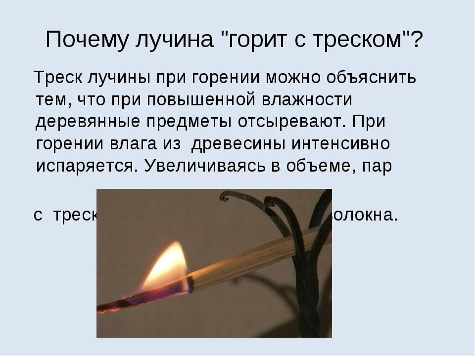 """Почему лучина """"горит с треском""""? Треск лучины при горении можно объяснить тем..."""