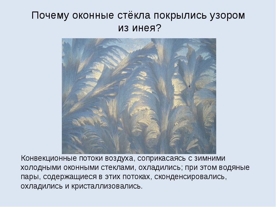 Почему оконные стёкла покрылись узором из инея? Конвекционные потоки воздуха,...