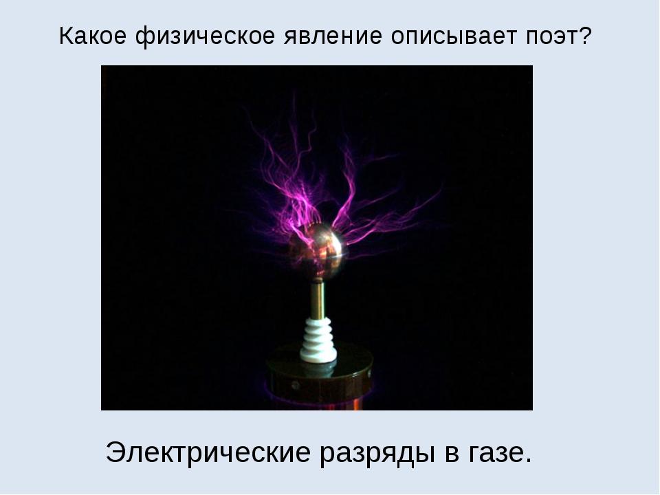 Какое физическое явление описывает поэт? Электрические разряды в газе.