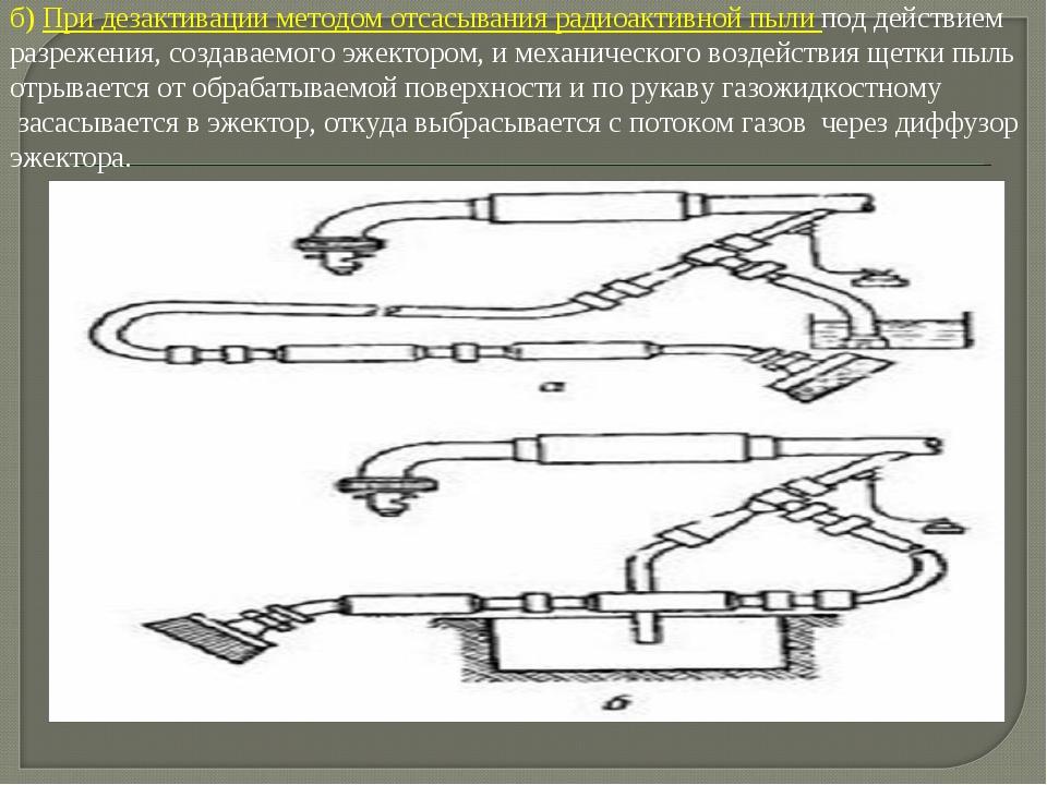 б) При дезактивации методом отсасывания радиоактивной пыли под действием разр...