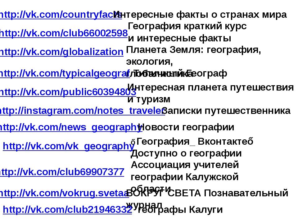 http://vk.com/countryfacts http://vk.com/club66002598 География краткий курс...