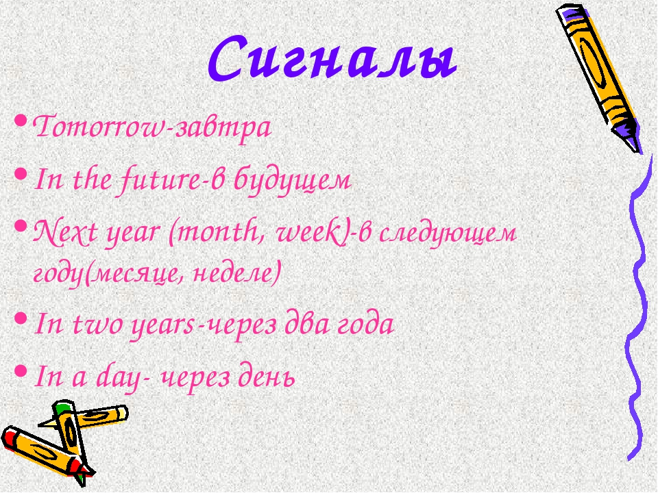 Сигналы Tomorrow-завтра In the future-в будущем Next year (month, week)-в сле...