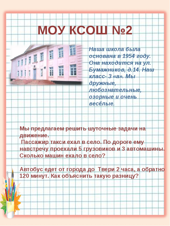МОУ КСОШ №2 Наша школа была основана в 1954 году. Она находится на ул. Бумаж...