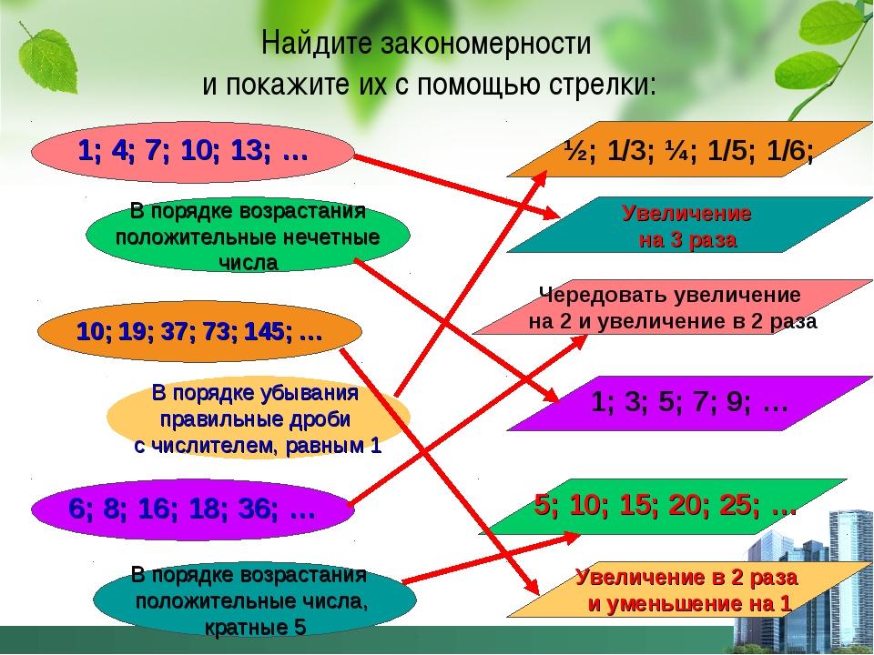 Найдите закономерности и покажите их с помощью стрелки: 1; 4; 7; 10; 13; … В...