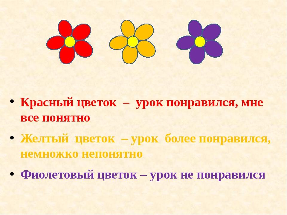 Красный цветок – урок понравился, мне все понятно Желтый цветок – урок более...
