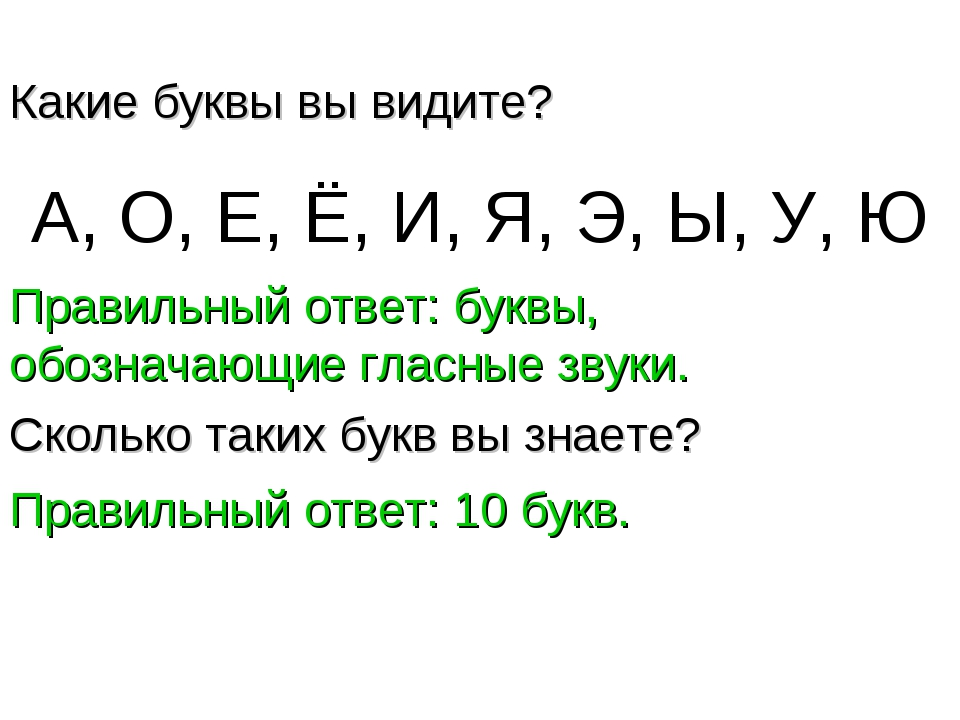 А, О, Е, Ё, И, Я, Э, Ы, У, Ю Какие буквы вы видите? Правильный ответ: буквы,...