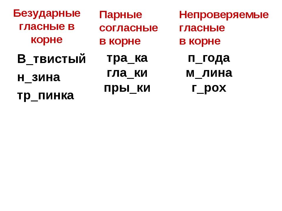 Безударные гласные в корне В_твистый н_зина тр_пинка тра_ка гла_ки пры_ки п_г...