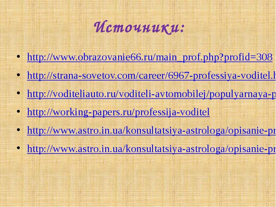 Источники: http://www.obrazovanie66.ru/main_prof.php?profid=308 http://strana...