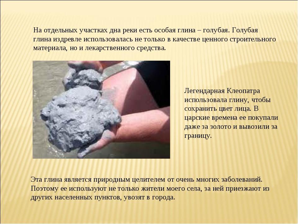 На отдельных участках дна реки есть особая глина – голубая. Голубая глина изд...