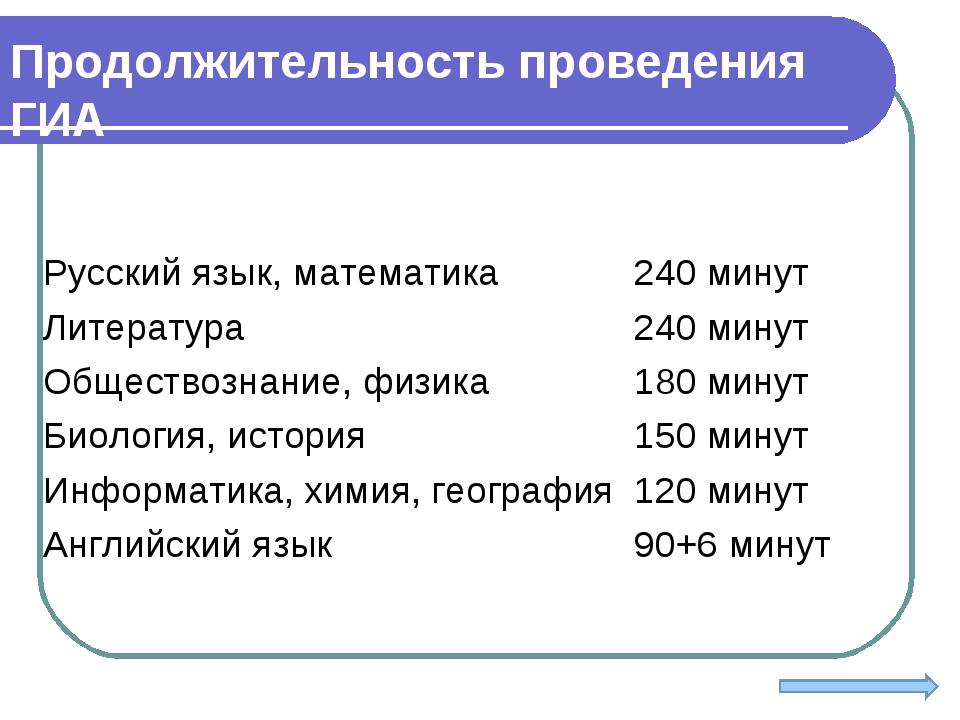 Продолжительность проведения ГИА Русский язык, математика240 минут Литератур...