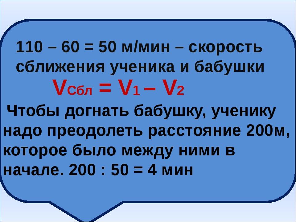 110 – 60 = 50 м/мин – скорость сближения ученика и бабушки VСбл = V1 – V2 Чт...