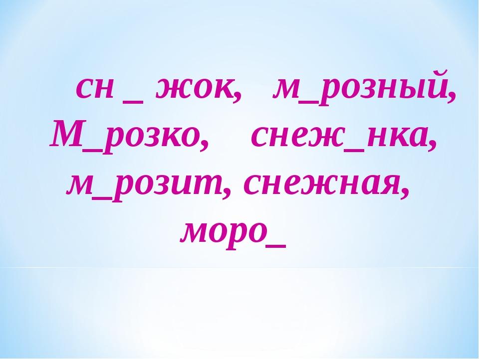 сн _ жок, м_розный, М_розко, снеж_нка, м_розит, снежная, моро_