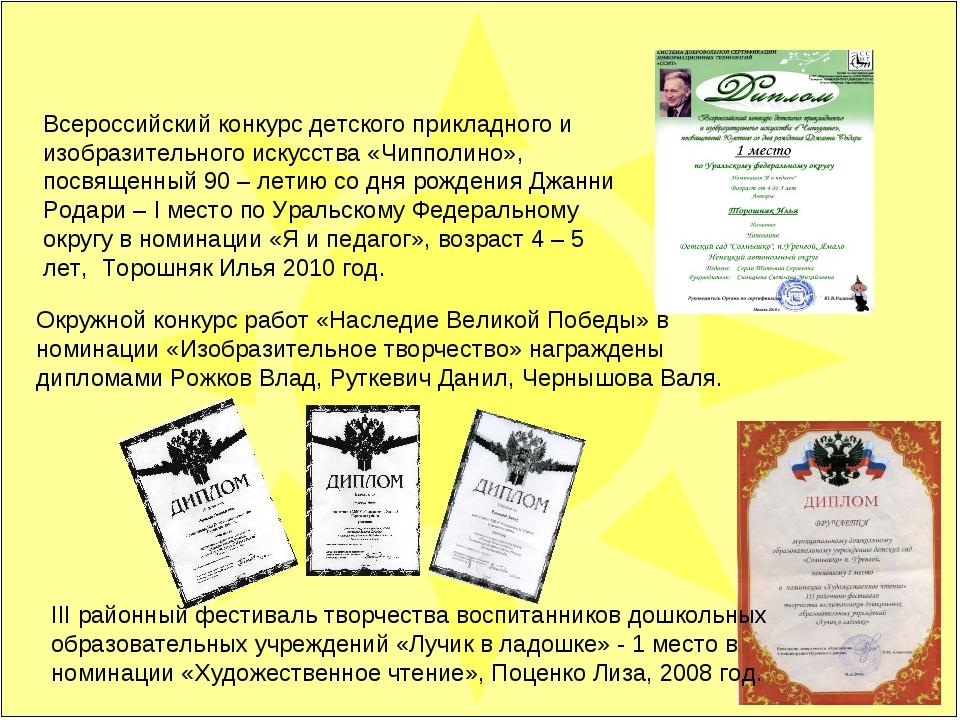 Всероссийский конкурс детского прикладного и изобразительного искусства «Чипп...