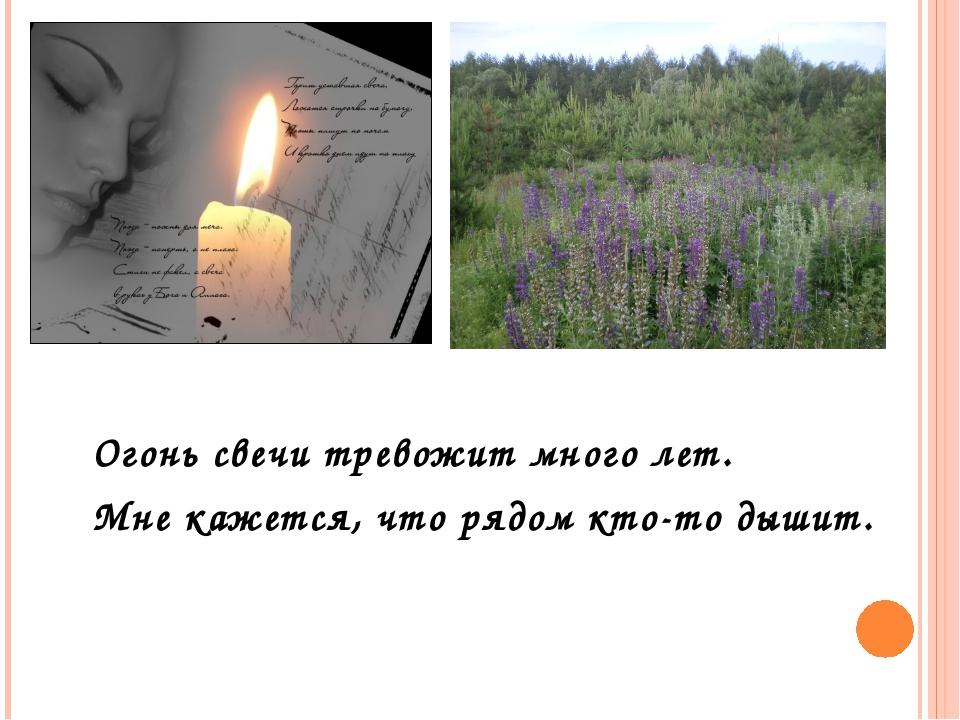 Огонь свечи тревожит много лет. Мне кажется, что рядом кто-то дышит.