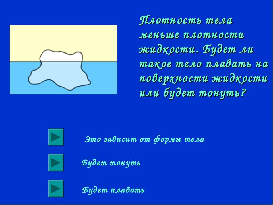 Плотность тела меньше плотности жидкости. Будет ли такое тело плавать на пове...