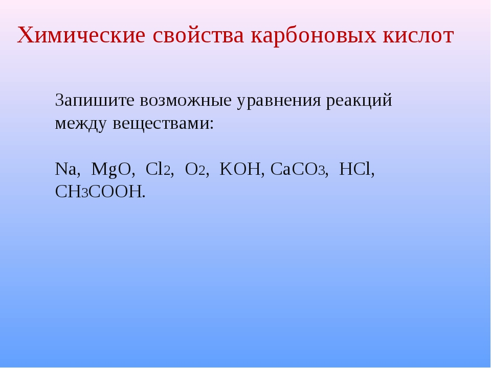 Химические свойства карбоновых кислот Запишите возможные уравнения реакций ме...