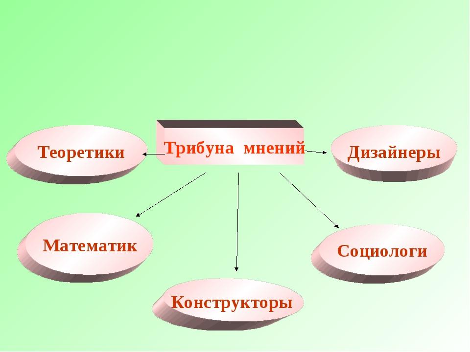 Трибуна мнений Математик Теоретики Социологи Дизайнеры Конструкторы