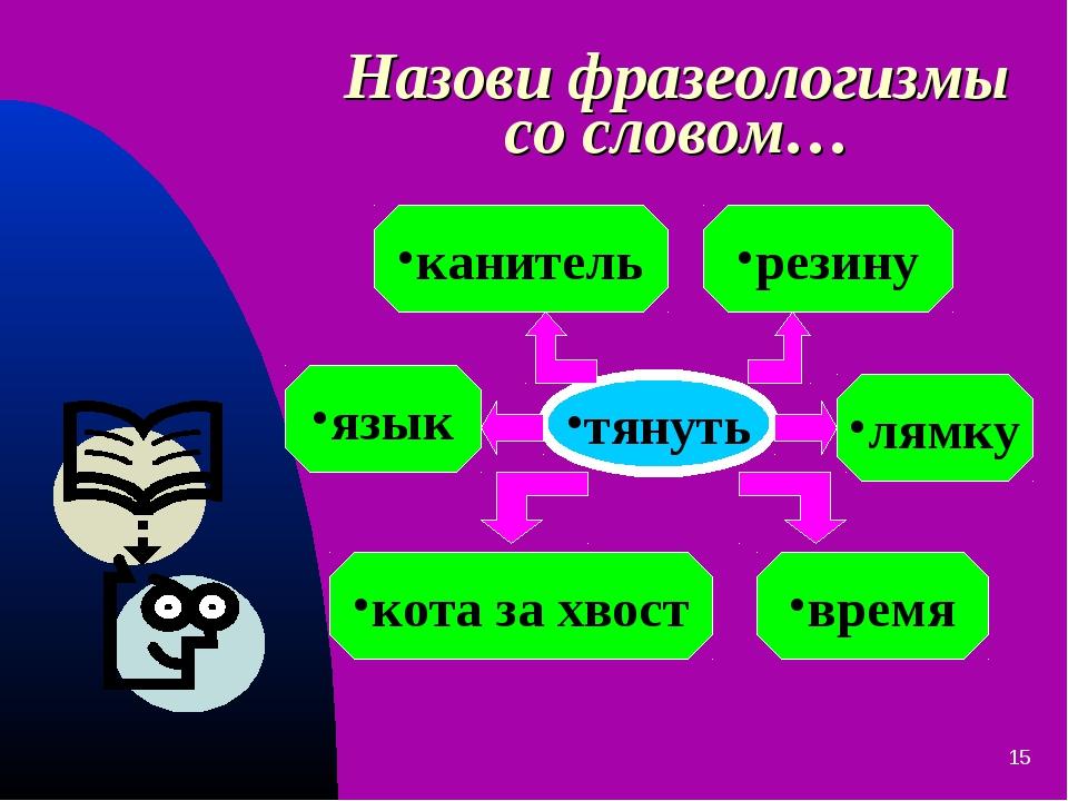 * Назови фразеологизмы со словом… тянуть кота за хвост время резину канитель...