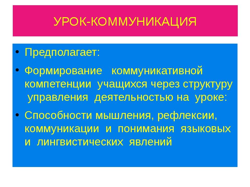 УРОК-КОММУНИКАЦИЯ Предполагает: Формирование коммуникативной компетенции учащ...